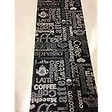 LaVela - Alfombra de cocina antideslizante con estampado de la palabra café lavable en lavadora tamaño 67 x 300 cm color negro y gris