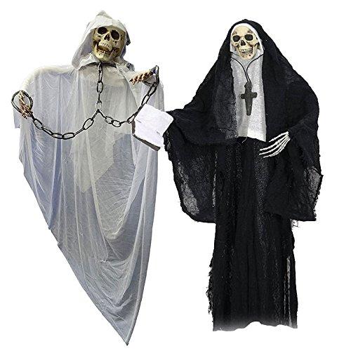 Halloween Horror Duo Set XL weißer Mönch und schwarze Nonne Horror Pärchen Skelett (Halloween Orlando)