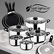 San Ignacio Juego de Sartenes y Batería de Cocina, Aluminio, Negro, ...