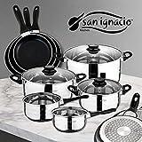 San Ignacio Juego de Sartenes y Batería de Cocina, Aluminio, Negro, 24 cm