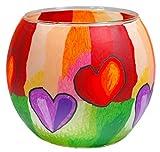 Himmlische Düfte Geschenkartikel GmbH Modern Hearts Windlicht, Glas, Bunt 11 x 11 x 9 cm