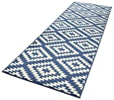 HANSE Home Designer Velours Läufer Nordic, Polypropylen, Blau/Creme, 80 x 200 x 0.9 cm