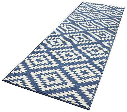Hanse Home Designer Velours Läufer Nordic, Polypropylen, Blau / Creme, 80 x 200 x 0.9 cm