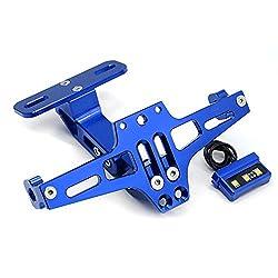 Universal CNC Aluminium Motorrad Hintere Kennzeichenhalter Nummernschildhalter mit LED-Licht für Kawasaki Z650 Z750 Z800 Z1000 Z900 Z300 Z250 (Blau)
