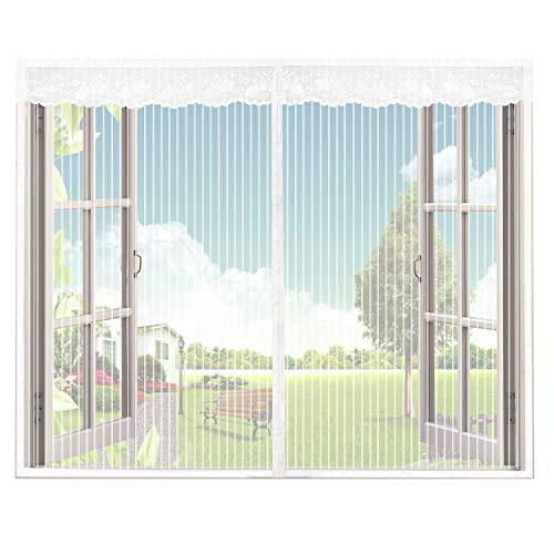 Phogary zanzariera magnetica per finestra, mesh bianco con crema bordatura 150 x 130 centimetri (larghezza x altezza), zanzariera insetti finestra con nastro adesivo