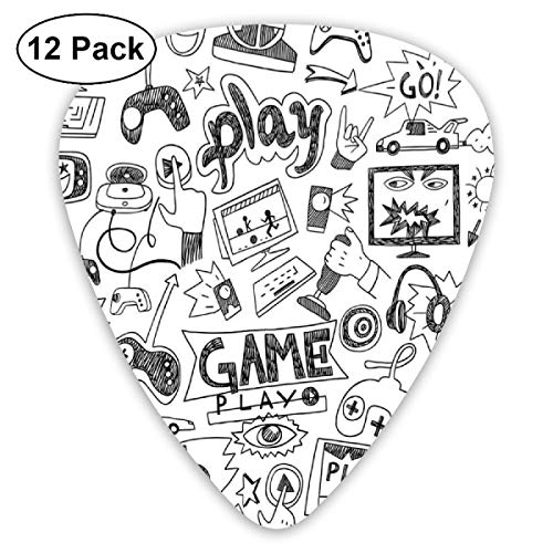 Guitar Picks - Abstract Art Colorful Designs,Monochrome Sketch Style Gaming Design Racing Monitor Device Gadget Teen 90s,Unique Guitar Gift,For Bass Electric & Acoustic Guitars-12 Pack - Premier Acoustic Monitor