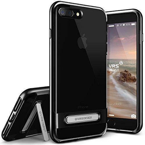 iPhone 7 Plus Hülle, VRS Design [Crystal Bumper Serie] Transparent Hülle mit Militärischer Schutz mit Klappständer für Apple iPhone 7 Plus 2016 - Diamant Schwarz Diamant Schwarz