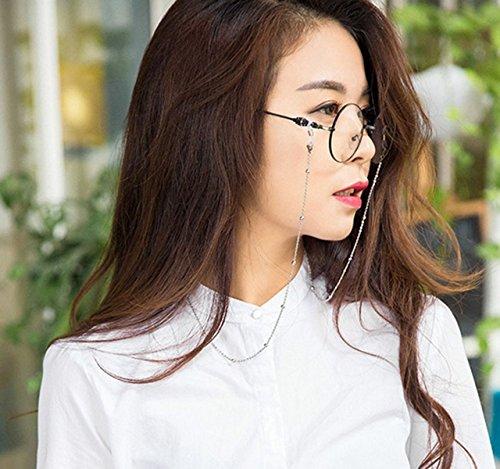 Brillen Halskette Kette,Tukistore Edelstahl Perlen Brillen Sonnenbrillen Halter Cord Strap Brillen Lanyard Retainer Strap