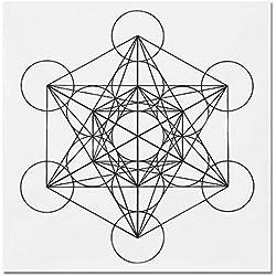KUNSE 50X50Cm Flor De La Vida De Cristal Rejilla De Tela Sagrada Geometría Curación Mantel Hermosas Decoraciones-#2