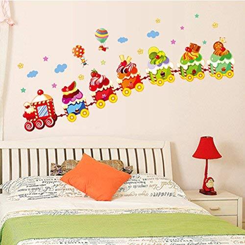 HhGold Die Schlafzimmer sind modern Wall Decals Abnehmbare bunten Kleinen Blumengarten frische Kleine Aufkleber Kindergarten entlang der Linie Kunst, EIS Zug (Zug Der Linie)