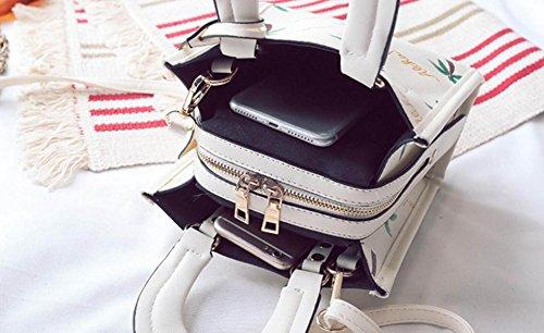 FZHLY Nuovo Sacchetto Coreano Della Spalla Di Modo Semplice Messenger Bag Piccolo Piazza,WhiteButterfly WhiteCherry