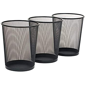 Goodwill Tech Recycling Dustbins, Pack of 3 Metal Mesh Dustbins waster Basket for Home/Office - Black