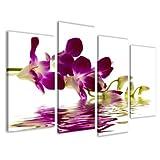 Bild auf Leinwand Orchidee 130 x 80 cm 4 Teile Modell-Nr. XXL 6132 Bilder fertig gerahmt auf echtem Holzrahmen riesig. Ausführung Kunstdruck als Wandbild auf Rahmen. Günstiger als Ölbild Gemälde Poster Plakat mit Bilderrahmen