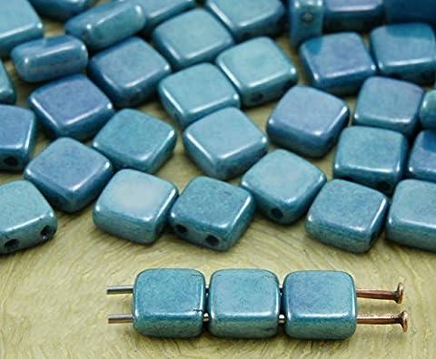 40pcs de Craie Grise Bleu Lustre Tuile Plate Carrée 2 Deux Trou de Verre tchèque Perles de 6mm