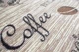 Teppich Modern Flachgewebe Gel Läufer Küchenteppich Küchenläufer Braun Beige Schwarz mit Schriftzug Coffee Cappuccino Espresso Latte Größe 80 x 300 cm - 5