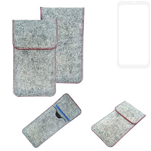 K-S-Trade® Filz Schutz Hülle Für Leagoo KIICA Power Schutzhülle Filztasche Pouch Tasche Case Sleeve Handyhülle Filzhülle Hellgrau Roter Rand