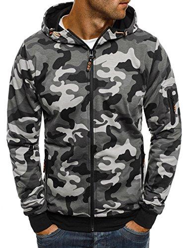Camo-jacke (OZONEE Herren Kapuzenpullover Hoodie Sweatshirt Pullover RED FIREBALL 1221 XL Camo-Grau)