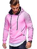 MT Styles Herren 2in1 Oversize Hoodie Biker Kapuzenpullover Pullover MT-1156 [Pink, XXL]