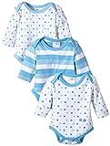 Twins Unisex Baby Langarm-Body im 3er Pack, Mehrfarbig, Gr. 62, blau (baby blue)