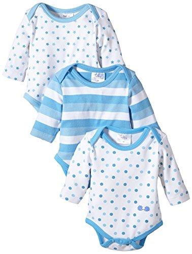 Twins Baby - Jungen Langarm-Body im 3er Pack, Mehrfarbig, Gr. 80, blau (baby blue)