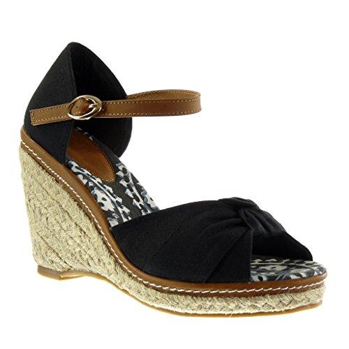 Angkorly scarpe moda sandali espadrillas zeppe donna nodo tanga corda tacco zeppa piattaforma 10.5 cm - nero af-30 t 39