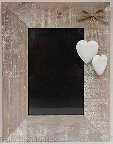 Chic Shabby Natural Wooden Portrait Standing Photo Frame Hanging White