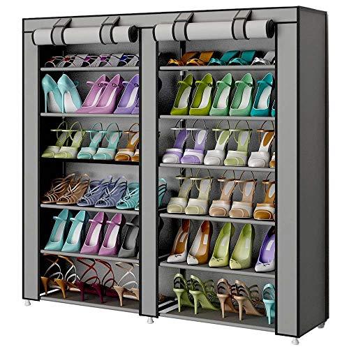 Bakaji scarpiera armadio salvaspazio 7 ripiani 115x30x110cm fino a 36 paia di scarpe struttura acciaio e rivestimento in tessuto tnt impermeabile con chiusura zip antipolvere (grigio)