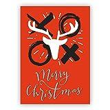Im 5er Set: Coole Weihnachtskarte mit Hirsch und Küssen: Merry Christmas auf rostrot