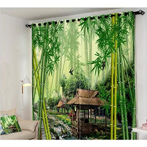 WKJHDFGB Dschungel Brook Green Bambus Vorhang Büro Schlafzimmer 3D Fenster Vorhang Wohnzimmer Schmücken Cortina Vorhänge Rideaux Kissenbezug,H215Xw200Cm