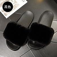 fankou Primavera y el Otoño Mujeres Pantuflas Antideslizantes de Base Plana con Cuatro Estaciones permanezca Fresco Zapatillas de Moda de Verano, vistiendo Negro,44-45,