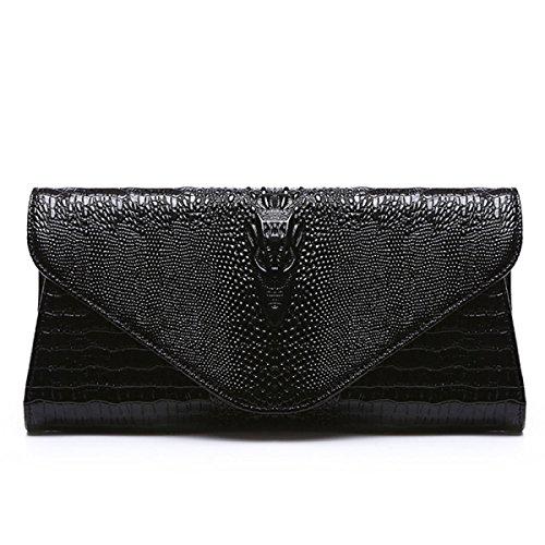 Leder-Kupplungs-Krokodilmuster Handtasche Damenmode Abendtasche Kette Umhängetasche Black