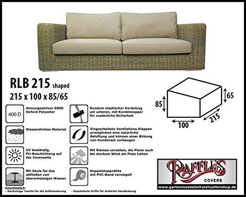 RLB215shaped Wetterschutz für Lounge Bank, Gartensofa oder Lounge Sofa, 2 - 3 Sitzer, passt am besten am Sofa von max. 210 x 95 cm. Schutzhüllen für Bank, Schutzhülle für Lounge...