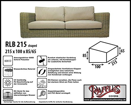 RLB215shaped Wetterschutz für Lounge Bank, Gartensofa oder Lounge Sofa, 2 - 3 Sitzer, passt am...