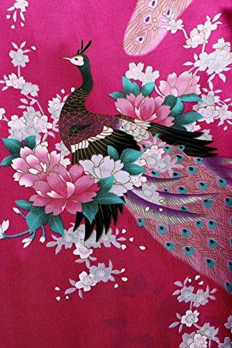 BABEYOND Damen Morgenmantel Maxi Lang Seide Satin Kimono Kleid Pfau Muster Kimono Bademantel Damen Lange Robe Schlafmantel Girl Pajama Party Rot