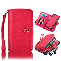 iPhone X Case [Large Capacity],iPhone 10 Cover Zipper Wallet,Vandot PU Leather Case with Inner Money Pocket Card Holders Slots Detachable Magnetic Fashionable Cover Case for iPhone X / iPhone 10 5.8 inch with Hand Strap-Rose Red