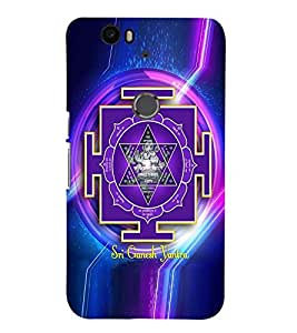 Fuson Premium Sri Ganesh Yantra Printed Hard Plastic Back Case Cover for Huawei Nexus 6P