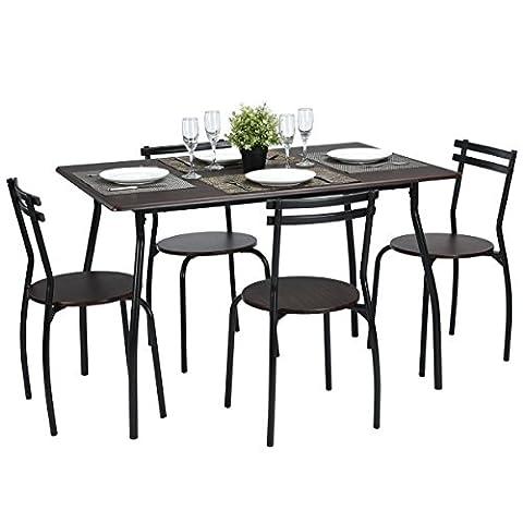 Ensemble de Chaise de Table à Manger Cuisine Ensemble de Salle à Manger de 5pcs 1 table 4 Chaises Set Dark Walnut