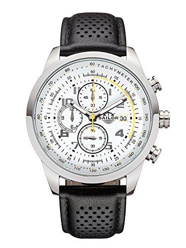 Sailor Herren Uhr Sydney Analog Quarz Chronograph weiß-gelb mit Leder Armband SL201-1005