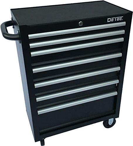 Preisvergleich Produktbild DeTec. Werkstattwagen Werkzeugwagen | leer | 7 Schubladen in schwarz | ohne Werkzeug