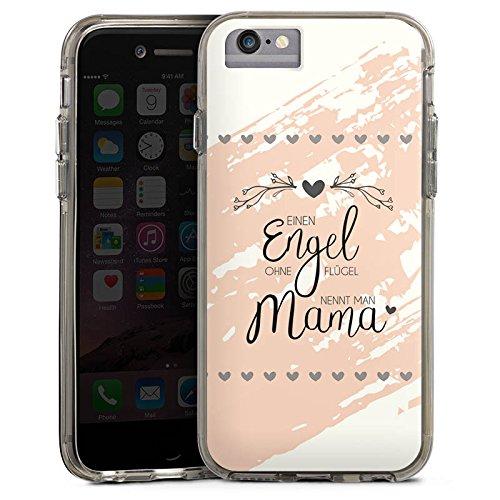 Apple iPhone 6s Plus Bumper Hülle Bumper Case Glitzer Hülle Muttertag Spruch Mama Bumper Case transparent grau