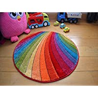 Splash Multicolour Rainbow Circle Thick Childrens Colourful Rug. Size 80cm x 80cm