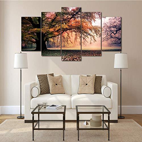 BUER Lienzo Cartel de Arte de la Pared 5 Unidades otoño árbol...