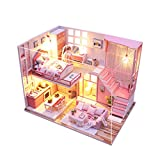 ToDIDAF Wooden Dollhouse 3D DIY Miniature Furniture LED House Art Cottage Model Educational Toy for Birthday Christmas Valentine's Day Bedroom Home Garden Decor - Romantic Time (with Dust Cover)