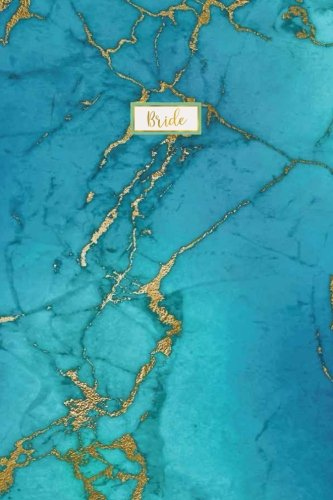 Bride: White Gold Marble Agate Wedding Planning Notebook, Blue Marble Design, 120 Lined Pages, 6 x...