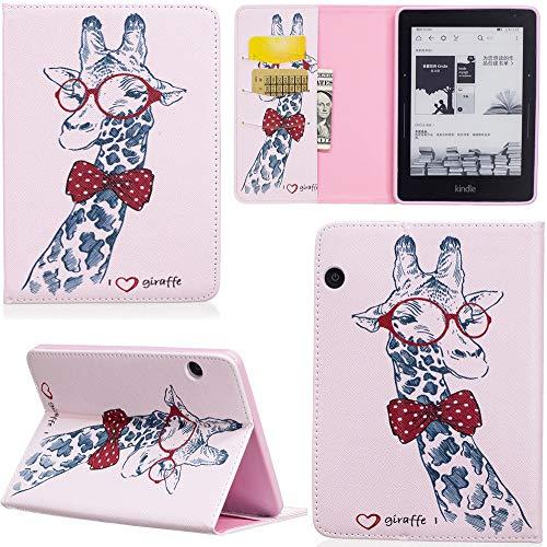ge Hülle PU Leder Tasche Schutzhülle Cover Case Wallet Brieftasche Stand für Kindle Voyage - Giraffe ()