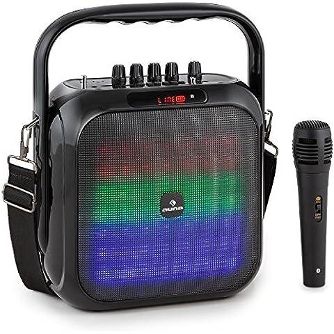 auna Big Dazzl altoparlante cassa portatile (Bluetooth, batteria integrata, ingresso microfono, USB MP3, slot micro-SD, ingresso AUX) - nero