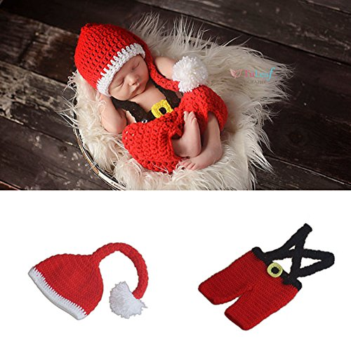 Anqeeso Baby Kleidung für Fotografie, Neugeborene Baby Christmas Santa Claus handgefertigt gestrickt Fotografie Foto Prop Outfit passt Kleidung Gap Hat Set -