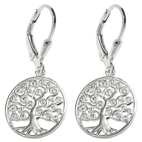 Brisur 31x14mm Ohrring Baum des Lebens glänzend Silber 925