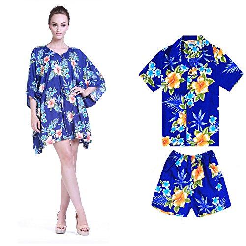 Camiseta-de-vestir-a-juego-Poncho-madre-hijo-hawaiano-Luau-traje-Hibiscus-Pattern-in-2-colors