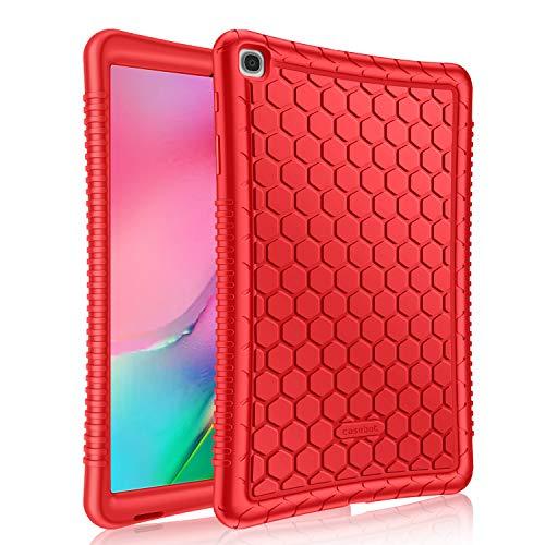 Fintie Funda de Silicona para Samsung Galaxy Tab A 10.1 2019 - [Honey Comb Series] Carcasa Ligera de Silicón Antideslizante para Niños a Prueba de Golpes para Modelo SM-T510/T515, Rojo